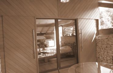Baie vitrée coulissante bois